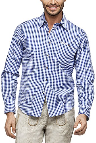 Stockerpoint Herren Regular Fit Trachtenhemd Campos2, Gr. Large, Blau