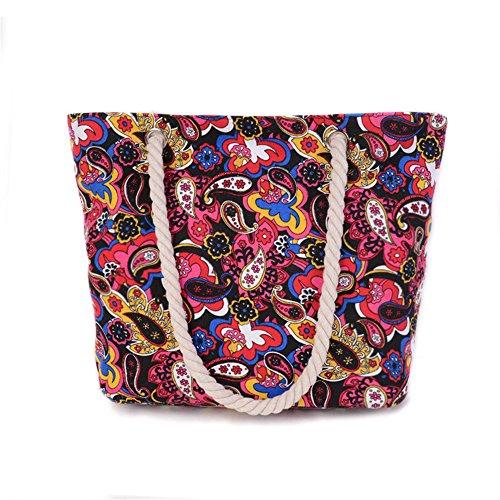 Wewod Casual Tela Borsa Shopper Shopping Borsa, Tela, colorful, (Woven Willow Picnic Basket)