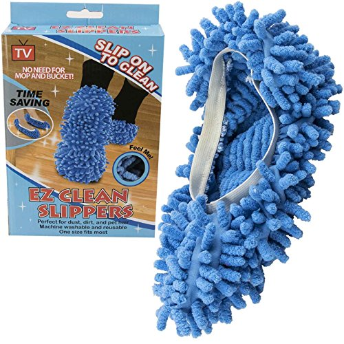 Ez Clean Dust Mop Slippers Lazy Quick House Floor Polishing Cleaning Socks Shoes Non Abrasive Elasticated Snug Fit One Size