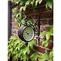 Reloj para interior y exterior, para estación de reloj de pared doble, con termómetro