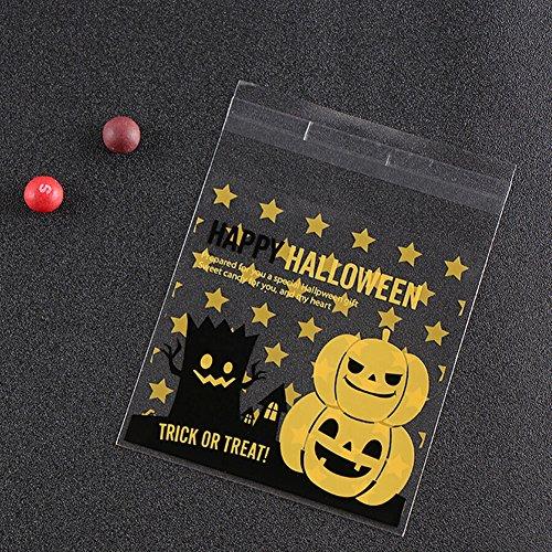 Shiningup 100pcs glückliches Halloween-Partei-Selbstklebendes Plätzchen-Bäckerei-Süßigkeit-Keks-Braten-Festlichkeits-Geschenk DIY Plastikverpackungs-Beutel