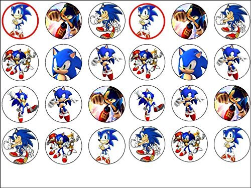 24 Sonic the Hedgehog Edible Wafer Paper Cup Cake Toppers by CakeThat by CakeThat