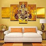 LwqArt Anstrich-Wand-Kunst Baseball-Spieler-Hut Moderne indische Buddha-Statue (Lord Hanuman) Segeltuch-Malerei für Korridor-Wohnzimmer-Schlafzimmer-Ausgangsdekor mit dem Rahmen bereit zu gehangen