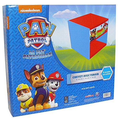 Unbekannt Fun House 712533 Paw Patrol Nachttisch, mit Schublade, für Kinder, MDF-Holz/Vlies, Blau, 33x 30x 36cm