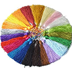 Dealcell 22pcs of 5.5 Inch Mini Tassels DIY Cotton Thread Tassels Craft Supplies Jewelry Tassels Chunky Tassel Fringe Trim