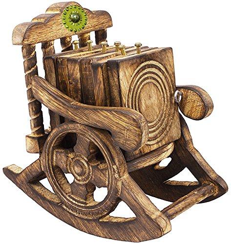SKAVIJ Holz Stuhl Drink Untersetzer mit Halter | Tee | handgefertigt – Set von 6 PCS – Küche Esstisch Home Zubehör