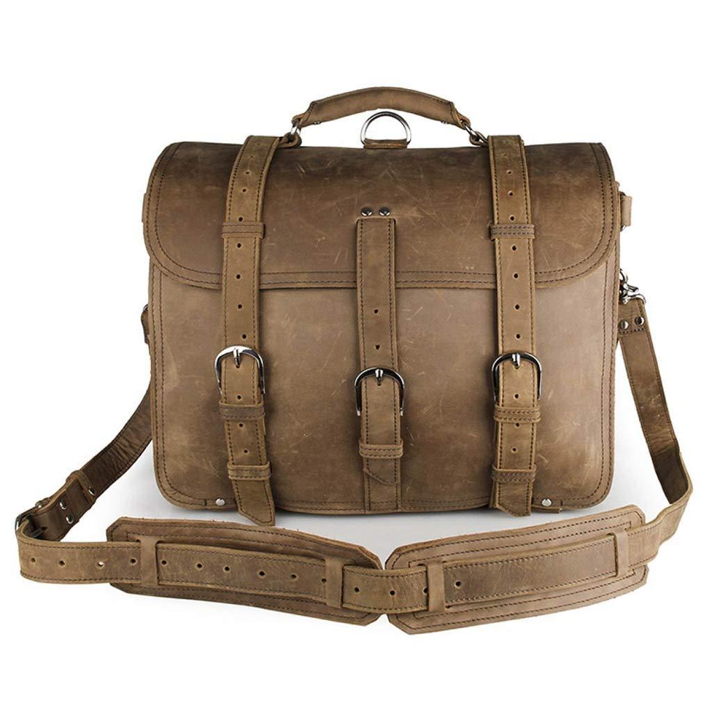 nuevo producto 44519 8a720 Bolso de cuero para hombre Crazy Horse Vintage Maletín de cuero Bolso  grande Bolsa de equipaje Bolsa de portátil de 17