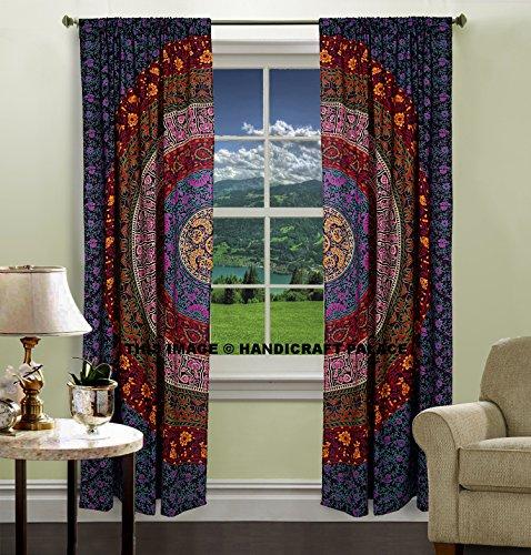 Indian PUERTA VENTANA balcón cortinas Boho Mandala cortina de DRAPE de girasoles cortina de DRAPE hecha a mano tapiz manta por handicraft-palace
