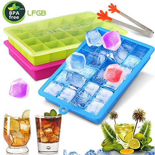 Gifort Eiswürfelform, Eiskugelform, DIY Silikon-Eiswürfelform, 3 Pack Silikon Eiswürfelformen-2.5cm Würfel Eiswürfel, Eiswürfelbehälter für Familie, Partys und Bars(3Pack-Grün Blau Rot)