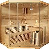 Sauna Elysi Hemlocktanne mit Sternenhimmel Ecksauna Saunakabine 6 kW mit Saunasteine