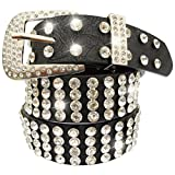 China Palaeowind Black White Colored Ms Buckle Leather Belt Diamonds Decoration Belt Leather Belt 100-135cm