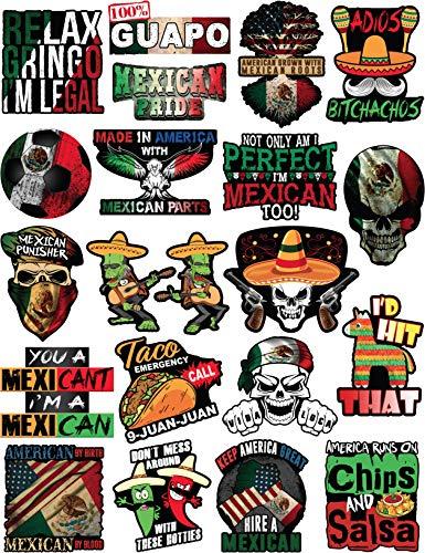 20 lustige mexikanische Aufkleber - 100% Vinyl Aufkleber für Erwachsene - lustige Aufkleber für Hardhut, Bau, Laptop, Wasserflasche oder Lunchbox Pegatinas Cascos. Calcomanias para autos