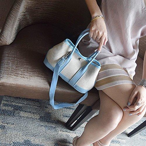 Borsa grande del sacchetto della borsa del cavolo del giardino del giardino di modello del lychee della borsa del sacchetto della tela di canapa semplice ( Colore : Grigio ) Blu