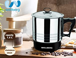 WELLBERG Stainless Steel Model No:12533 Multipurpose Electric Kettle (Silver)
