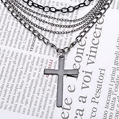 JewelTime Fashion Retro Multi-layer Chain Pendant Black Cross Metal with Long Necklace : everything £5 (or less!)