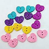 #8: Generic 100pcs Mixed Peach Heart Wooden Buttons Two Holes Embellishment Craft DIY