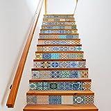 Extsud Set de 13 Pcs Sticker Carrelage Sticker Escalier DIY Autocollant Mural Style Mexicain 100x18cm/pcs