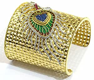 Shingar jewellery ksvk jewels diamond finish white gold plated kada churi bangle kangan bracelet single in free size for women (7533-bk-a)