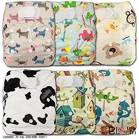 LittleBloom Panno Pannolini Lavabili Tasca Pannolino Riutilizzabile, Di Fissaggio: VELCRO, Set Di 6