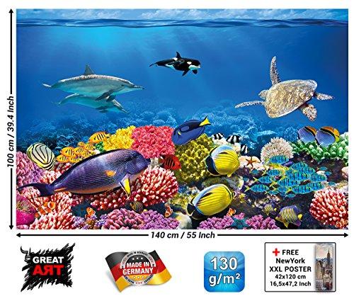 GREAT ART XXL Poster Kinderzimmer - Aquarium - Wandbild Dekoration Unterwasserwelt Meeresbewohner Ozean Fische Delphin Schildkröte Korallenriff Wandposter Fotoposter Bild (140 x 100 cm)