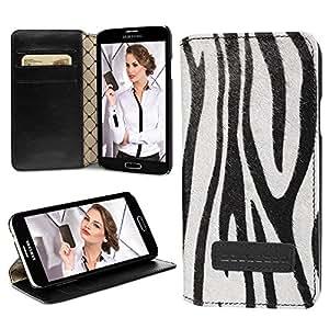 """Bouletta """"BookCase"""" Safari Zebra Samsung Galaxy S5 V Book Case Hülle Tasche Ledertasche Pouch Etui Cover - Mit Aufstellfuntkion und Kartfächern, Handarbeit, 100% Passgenau"""