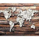 murando Papier peint intissé 350x256 cm Décoration Murale XXL Poster Tableaux Muraux Tapisserie Photo Trompe l'oeil bois carte du monde k-A-0028-a-b