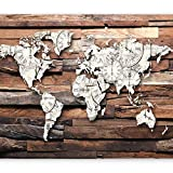 murando - Fototapete 350x256 cm - Vlies Tapete - Moderne Wanddeko - Design Tapete - Wandtapete - Wand Dekoration - Holz Weltkarte k-A-0028-a-b