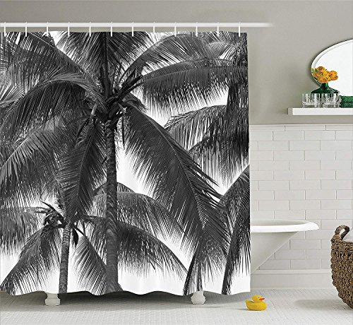 Palm Tree Decor Shower Curtain, Palm Tree Silhouette Exotic Plant on Dark Thema Foliages Relax in Nature Image, Fabric Bathroom Decor Set with Hooks, 72x72 inches Extra Long, Black (Men In Black Halloween-thema)