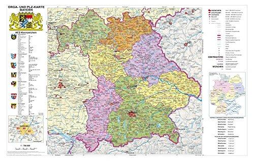 Postleitzahlenkarte Bayern politisch mit Postleitzahlen, 95 x 61 cm mit Metallleiste