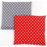 Preisvergleich für Set Kirschkernkissen Wärmekissen Körnerkissen ca.25 x 25 cm rote Punkte und graue Punkte