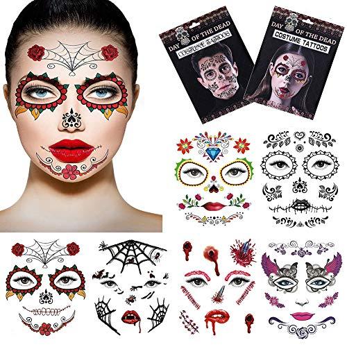 Halloween temporäre Gesicht Tattoos, Silence Shopping Tag der Toten Make-up Sugar Skull Gesicht Tattoo Horror Temporäre Tattoos Aufkleber für Frauen Männer Teens Boys