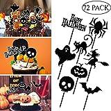 Amosfun 72pcs Halloween Cupcake Toppers Halloween Kuchen Dekorieren Pumpkin Cupcake Picks Spider...