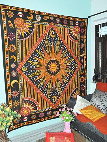 Indische Designer Himmlische Sonne Mond Sterne Planet Tapisserie Indische Hippie Wand Hängende böhmische Tagesdecke Mandala Baumwolle Dorm Dekor Strand Decke Burning Sun Tapisserien (Sterne Und Mond Bettdecke)