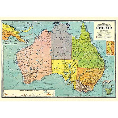 Cavallini Co. Australien Karte Deko Papier Tabelle
