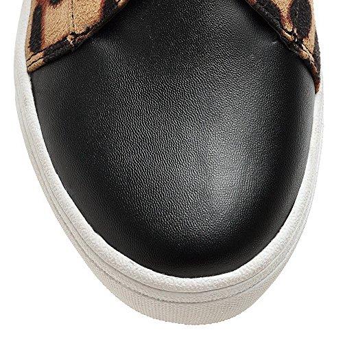 VogueZone009 Femme Lacet Matière Mélangee Rond Couleurs Mélangées Chaussures Légeres Noir