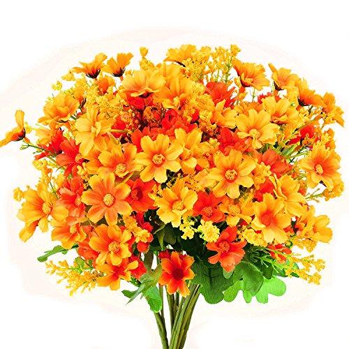 turelifes 4Künstliche Blumen Sträuße Fake Mini Daisy Flower 7Zweige 28Heads Seide floral für Office Home Hochzeit Dekoration Orange (Floral Zweig)