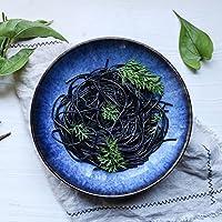 DLewiee Creativo Gran Plato de Pasta Azul de Cerámica Fruta Ensaladera Sopa de Cereales Tazón de Fuente de 9 Pulgadas Europeo