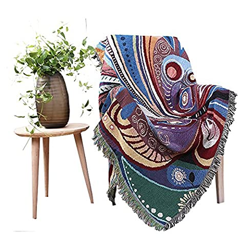 Chenille Jacquard Tassels Throw Blanket Sofa Chair Cover Butterfly By