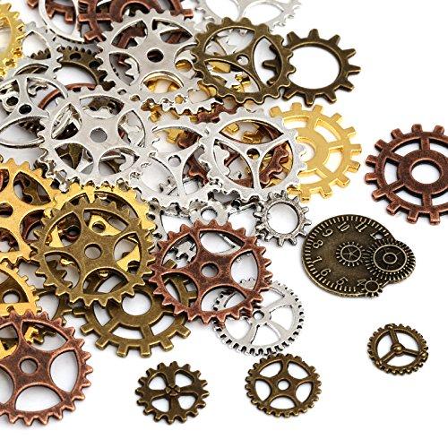 Naler 80 Stk. Zahnräder Steampunk Metall für Schmuck Basteln Kostüm (Gold, Silber, Kupfer, Bronze)