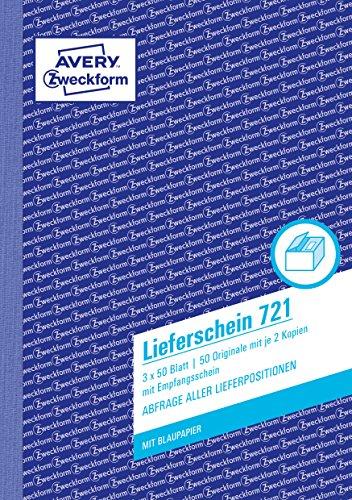 AVERY Zweckform 721 Lieferschein mit Empfangsschein (DIN A5, 3x50 Blatt, mit 2 Blatt Blaupapier und farbigen Durchschlägen, zur Abfrage aller Lieferpositionen) weiß/gelb/rosa