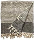 Bersuse 100% Algodón - Hierapolis XXL Manta Toalla Turca - Multiusos Colcha de Cama, Funda de Sofa - Fouta para Baño y Playa - Oeko-Tex - 152 x 242 cm, Negro