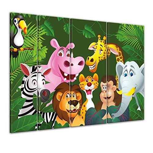 """Bilderdepot24 Cuadros en Lienzo """"Animales de la selva de los niños imágenes de dibujos animados IV"""" 180x120 cm 4tlg - listo tensa, directamente desde el fabricante"""