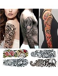 Tatouages temporaires bras homme et femme - Pack de 4 tatouages éphémère grand format - 48 x 17cm - tete de mort, rose, femme sexy