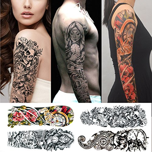 tatuajes temporales adultos hombre mujer - 4 tatuajes grandes por...