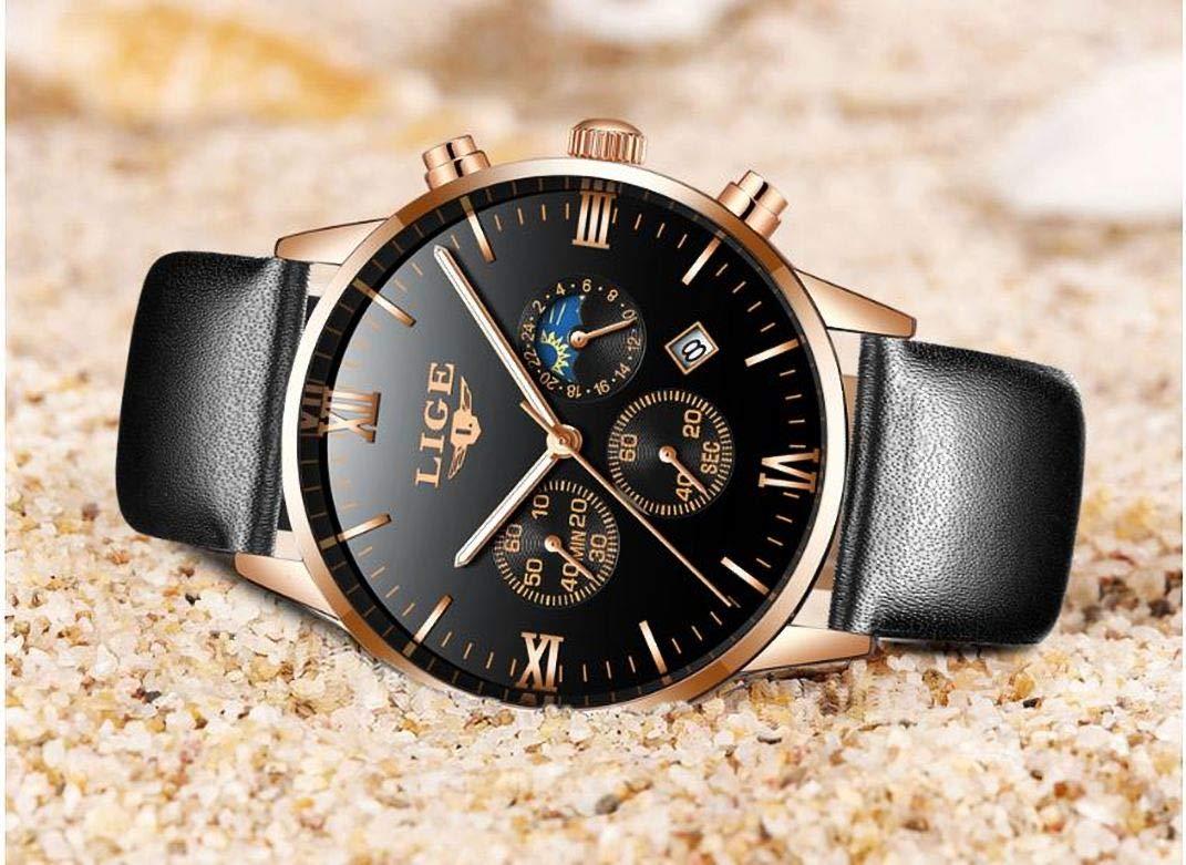 LIGE-Herren-Uhr-Analog-Quarz-mit-Leder-Armband-9831