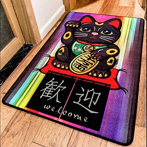Konami tarjeta de dibujos animados japonesa linda esteras de la alfombra Gato de la Suerte puerta de casa recibidor pasillo felpudo de pelo corto