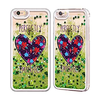 Head Case Designs Floral Heart Patches Green Liquid Glitter Case Cover for Apple iPhone 6 / 6s