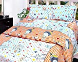Cosmosgalaxy Gloria 140 TC Cotton Double Bedsheet with 2 Pillow Covers - Multicolour