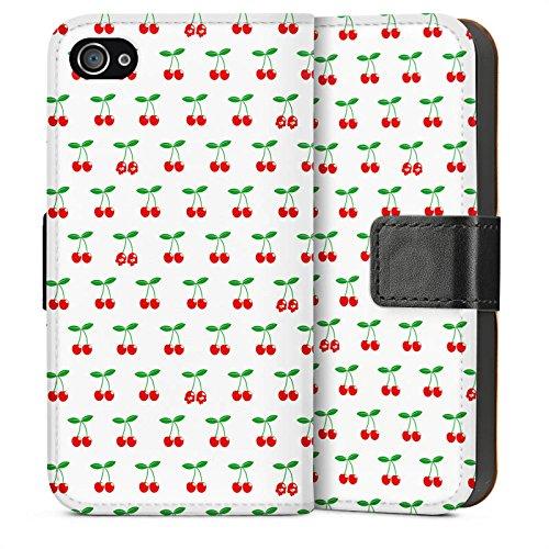 Apple iPhone 5 Housse Étui Silicone Coque Protection Cerises Rockabilly Fruits Sideflip Sac