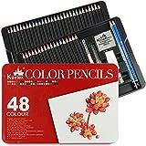 Lápices de colores Kasimir 48 Pre afilado; lápices de colores clasificados por color en caja (no tóxico) con lápiz extensor sacapuntas y borrador para artista. Con funda de dibujos para niños.